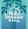 Summer tropical banner with palms and waves