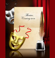theater masks realistic composition vector image vector image