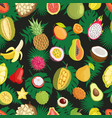 tropical exotic fruits green leaf seamless pattern vector image