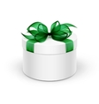 White Round Gift Box with Green Ribbon and Bow vector image vector image