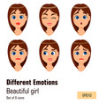 woman with different face expressions young vector image vector image