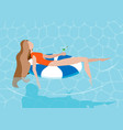 young long-haired girl sunbath on ring in the vector image vector image