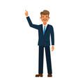 businessman pointing finger up cartoon flat vector image