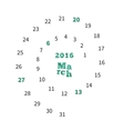 Creative calendar for March 2016 with dates on vector image