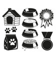 9 black and white cat care elements silhouette set vector image vector image