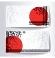 Banners with bamboo trees and leaves with red sun vector image vector image