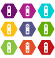 battery icon set color hexahedron vector image