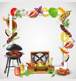 bbq realistic frame vector image