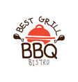 best grill bbq bistro logo template hand drawn vector image vector image