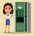 business woman standing with cup of coffee close vector image