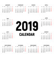 calendar 2019 year black and white template week vector image