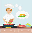 Cheerful chef cooks in the kitchen vector image vector image