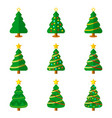 christmas tree flat icon set vector image vector image