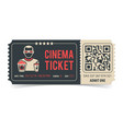 cinema ticket with qr code vector image vector image
