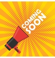Coming soon banner Announcement megaphone vector image vector image