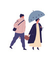 couple with umbrella flat vector image vector image