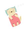 cute otter sleeping on pillow under blanket vector image