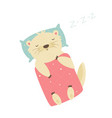 cute otter sleeping on pillow under the blanket vector image