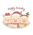 cute pigs in holiday season vector image vector image