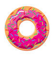 donut with pink frosting and sprinkles vector image