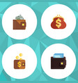 flat icon billfold set of saving payment finance vector image