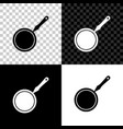 frying pan icon isolated on black white and vector image