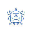 funny monster line icon concept funny monster vector image vector image