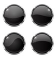 glass black buttons round 3d buttons with chrome vector image vector image