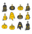 halloween emotions set vector image vector image