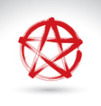 Hand drawn pentagram icon scanned and brush vector image vector image