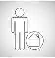 home locate destination icon silhouette man vector image