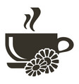 icon cup of hot tea with chamomile flavor logo in vector image vector image