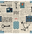 Imitation of newspaper with suitcases and word vector image
