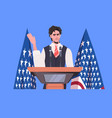 male politician making speech from tribune vector image vector image