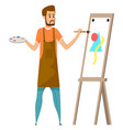 man painting picture watercolor paints isolated vector image