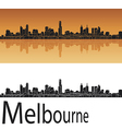 Melbourne skyline in orange background vector image