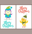 merry christmas banners congratulation from birds vector image vector image