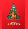 merry christmas papercut pine tree gift box card vector image