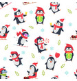 pinguin seamless pattern cartoon textile design vector image vector image