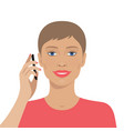 portrait of woman talking on the mobile phone vector image vector image
