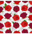 red roses seamless pattern with hand drawn flowers vector image vector image