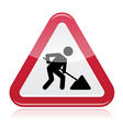 Road works sign under construction vector image vector image