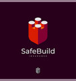 safe build logo insurance build brick block vector image vector image