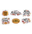 set hand drawn happy thanksgiving vector image