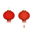 set hanging red chinese lanterns isolated on vector image vector image