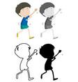 set happy boy character vector image vector image