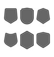 set of black shields in trendy flat style isolated vector image