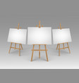 set of brown sienna wooden easels with mock vector image vector image