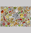set of pizza items objects and symbols vector image