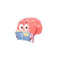 smart cartoon brain reading book mental health vector image